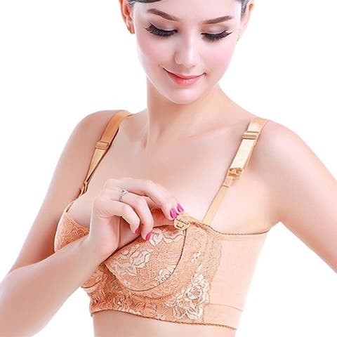 The New Nursing Bra Underwear For Pregnant Women Gather Air Feeding Adjustment Thin Bra Size Embroidery