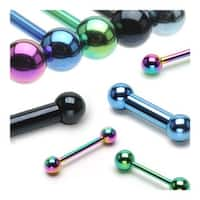 "10 Pieces Rainbow Colored Titanium Anodized Barbell Package - 14 GA 5/8"" Long (5mm Balls)"
