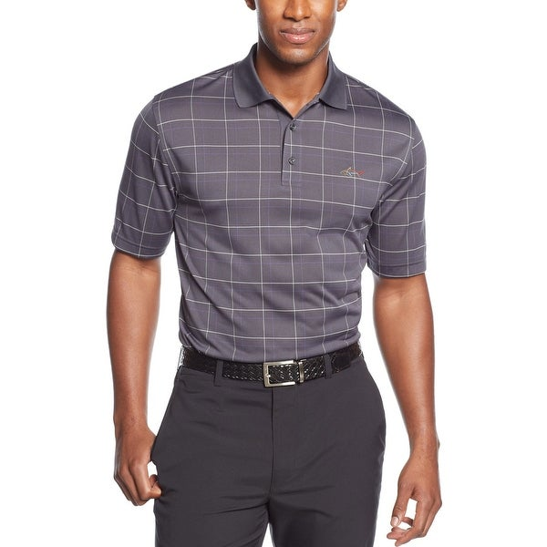 Greg Norman Performance Golf Polo Shirt Ebony Grey Windowpane