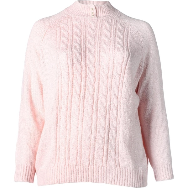 Karen Scott Womens Plus Pullover Sweater Cable Knit Mock Neck