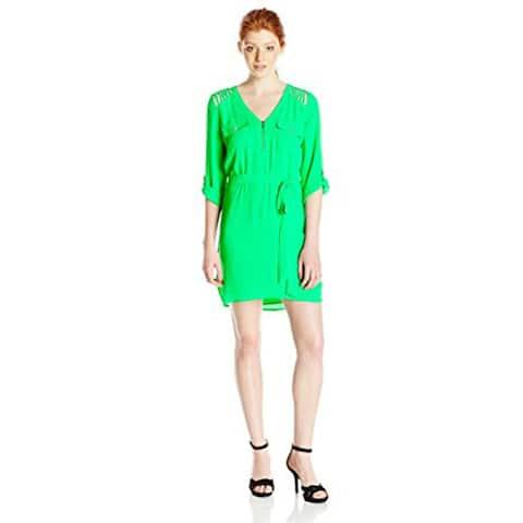 XOXO Women's 3/4 Sleeve Lattice Detail V-Neck Dress with Tie Waist - Green