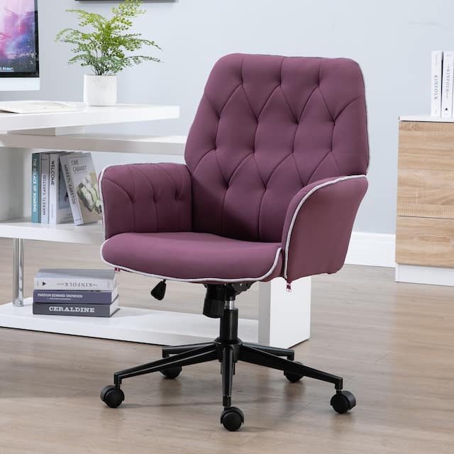 Modern Mid-Back Tufted Linen Fabric Home Office Task Chair with Arms, Swivel Adjustable - 26*27.25*39.75 - Purple