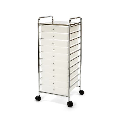 Seville Classics Frosted White Large 10-Drawer Organizer Cart
