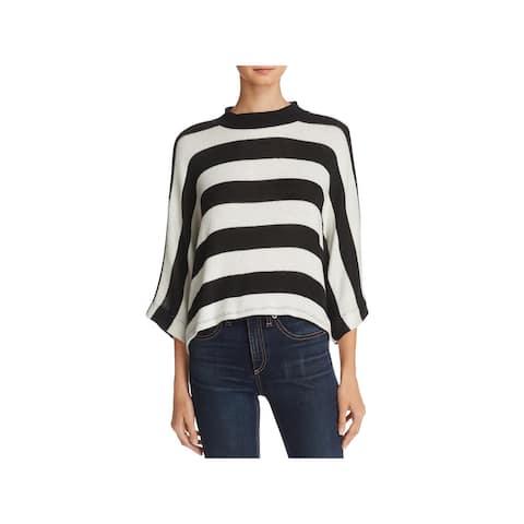 Splendid Womens Pullover Sweater Striped Dolman Sleeves - Black/Ivory - XS/S