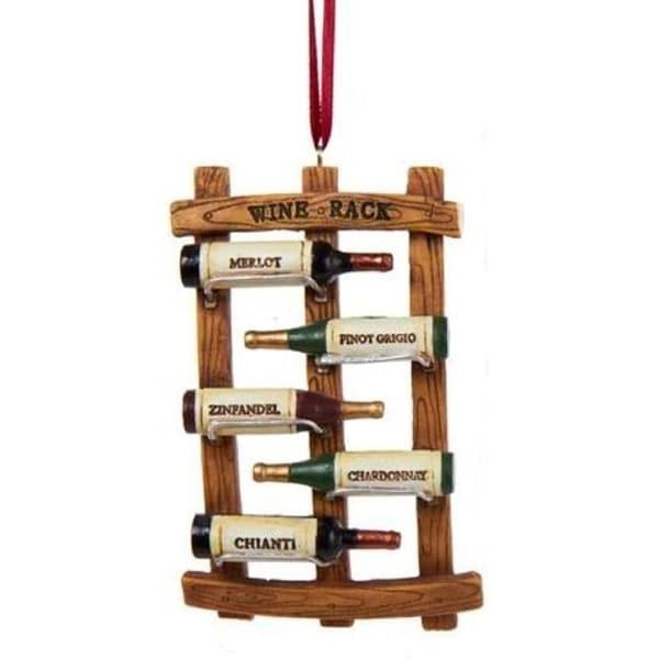 "4"" Wine Bottle Rack Decorative Christmas Ornament"