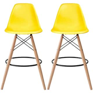 2xhome Set Of 2 28 Plastic Eiffel Chairs Bar Stool Counter Stools With Back Shell
