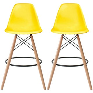 """2xhome Set of 2 25"""" Plastic Eiffel Chairs Bar Stool Counter Stools With Back Wood Side Molded Shell For Kitchen Office Dining"""