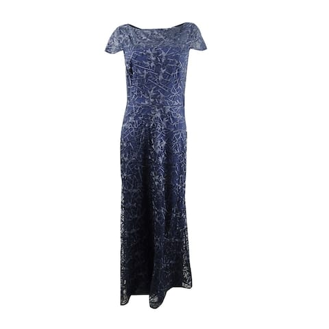 JS Collections Women's Embroidered Illusion Gown - Navy - 6