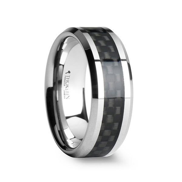 THORSTEN - MAXIMUS Black Carbon Fiber Inlay Tungsten Carbide Wedding Band -7mm