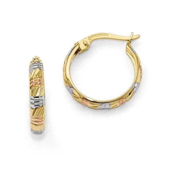 10k Gold Tri-Color Diamond Cut Earrings