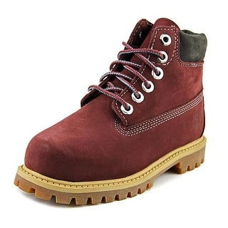 Timberland Premium Toddler Round Toe Leather Burgundy Boot