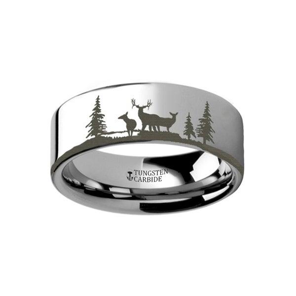 THORSTEN - Animal Landscape Scene Reindeer Deer Stag Ring Engraved Flat Tungsten Ring - 10mm