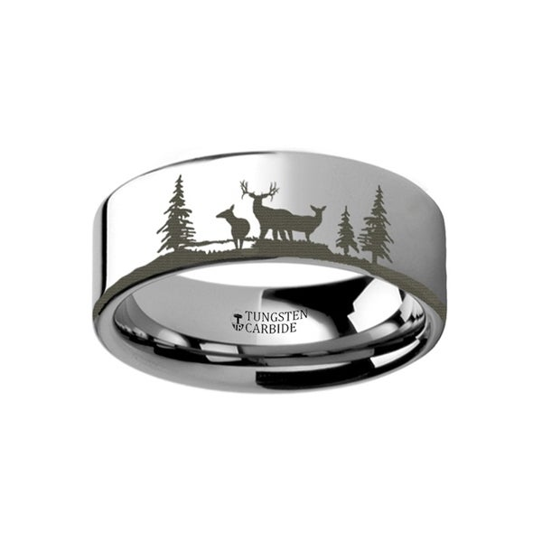 THORSTEN - Animal Landscape Scene Reindeer Deer Stag Ring Engraved Flat Tungsten Ring - 4mm