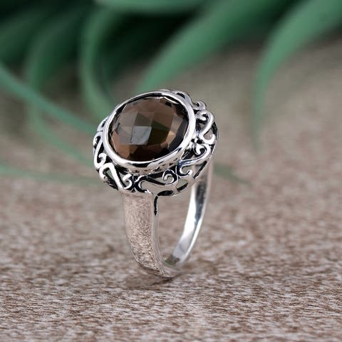 Amethyst, Quartz Sterling Silver Round Filigree Ring by Orchid Jewelry