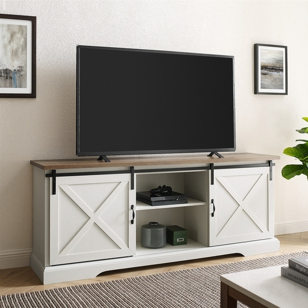 The Gray Barn Wind Gap 70-inch Sliding Barn Door TV Console. Opens flyout.