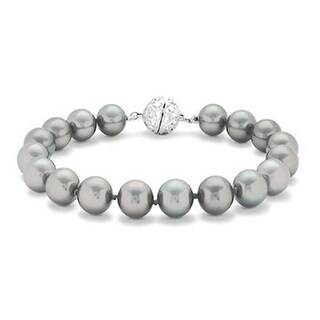 Bling Jewelry 12mm Grey Imitation Pearl Wedding Bracelet Rhodium Plated