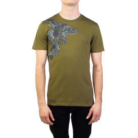 bdcc401abb Versace Collection Men s Cotton Baroque Graphic T-Shirt Military Green