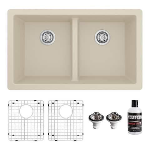 "Karran 32"" Undermount Double Equal Bowl Quartz Kitchen Sink Kit - 32"" x 19.5"" x 9"""