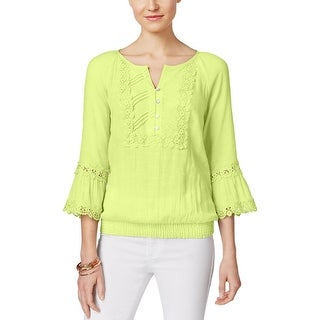 Cable & Gauge Womens Casual Top Crochet Trim Smocked