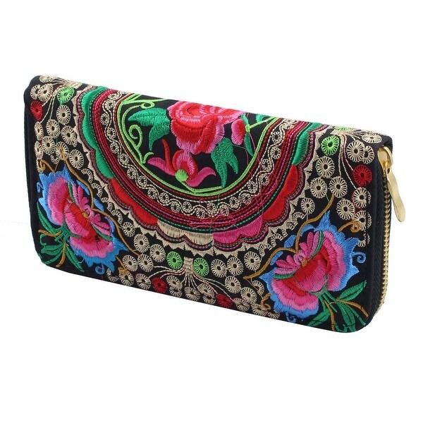 Embroidered Flower Design Rectangle Shape Zipper Card Holder Money Purse