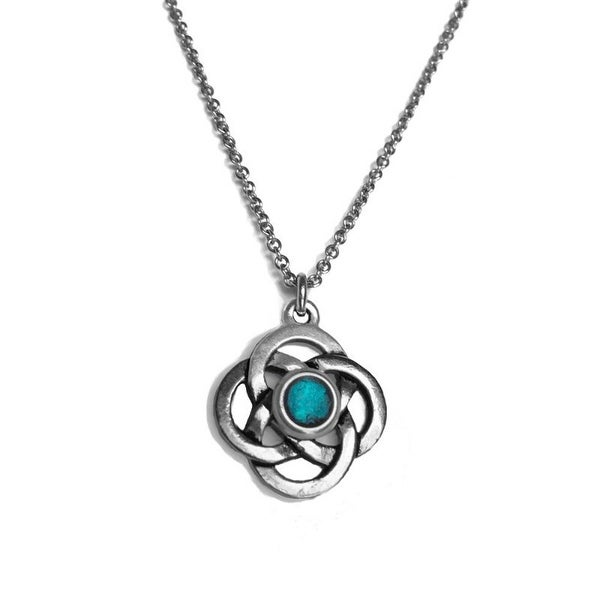 Loralyn Designs Celtic Love Knot Pendant Necklace with Metallic Resin Center