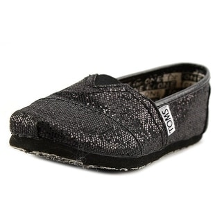 Toms Laci Youth EW Round Toe Canvas Black Flats