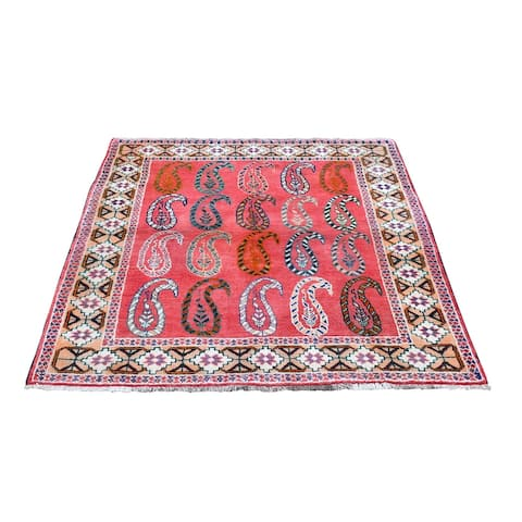"""Shahbanu Rugs Pink Vintage Persian Afshar with Paisley Boteh Design Pure Wool Hand Knotted Oriental Rug (3'10"""" x 5'2"""")"""