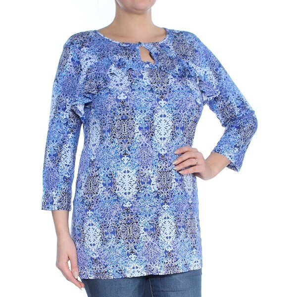 NY COLLECTION Womens Blue Printed 3/4 Sleeve Keyhole Top Size: L