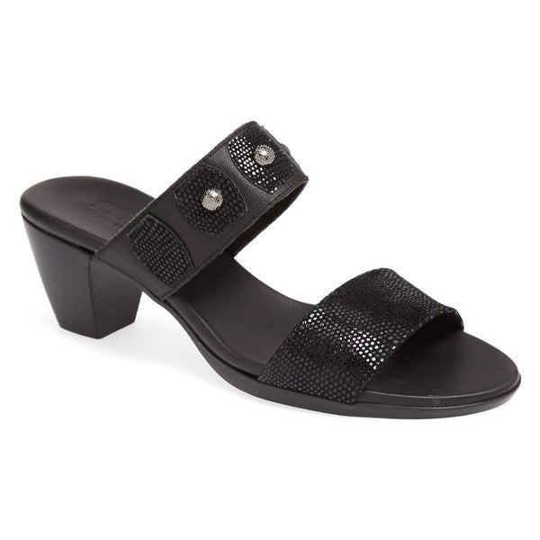 Munro Black Bethany Shoes Size 7.5N Slides Leather Sandals