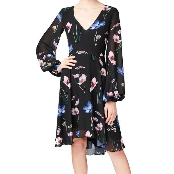 Betsey Johnson Black Women's Size 2 V-Neck Floral A-Line Dress