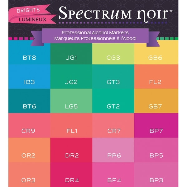 Spectrum Noir Alcohol Markers 24/Pkg-Brights