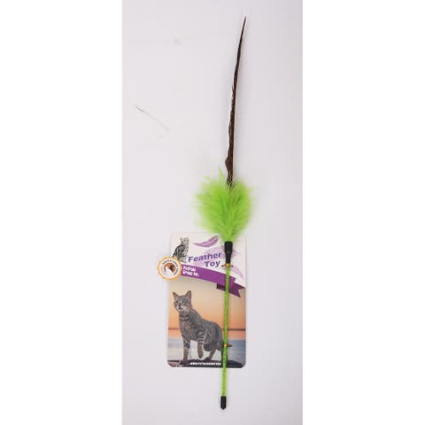 Pheasant Green - Feather Teaser Plastic Toy, 25""