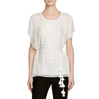 Kobi Halperin Womens Blouse Silk Embroidered