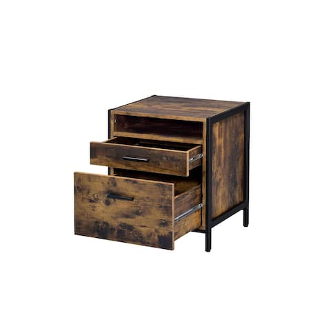 2 Storage Drawers Nightstand in Rustic Oak