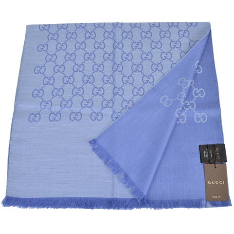 "Gucci Women's 165904 Nile Blue Wool Silk GG Guccissima Scarf - 70"" x 18"""