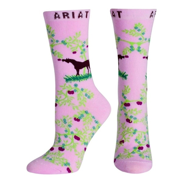 Ariat Socks Womens Western Ankle Horse Apples Pale Pink