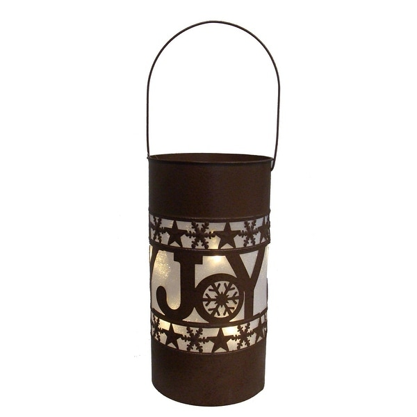 """15"""" Shimmering LED Lighted """"Joy"""" Battery Operated Christmas Lantern - brown"""