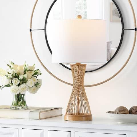 "SAFAVIEH Lighting Magnus Natural Bamboo 26-inch LED Table Lamp - 13"" W x 13"" L x 25.5"" H"