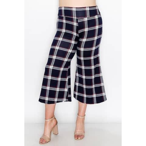 Women's Casual Plus Size Stretch Capri Plaid Pants
