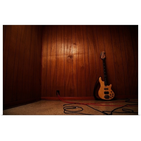 """""""Guitar leaning against wall indoors"""" Poster Print"""