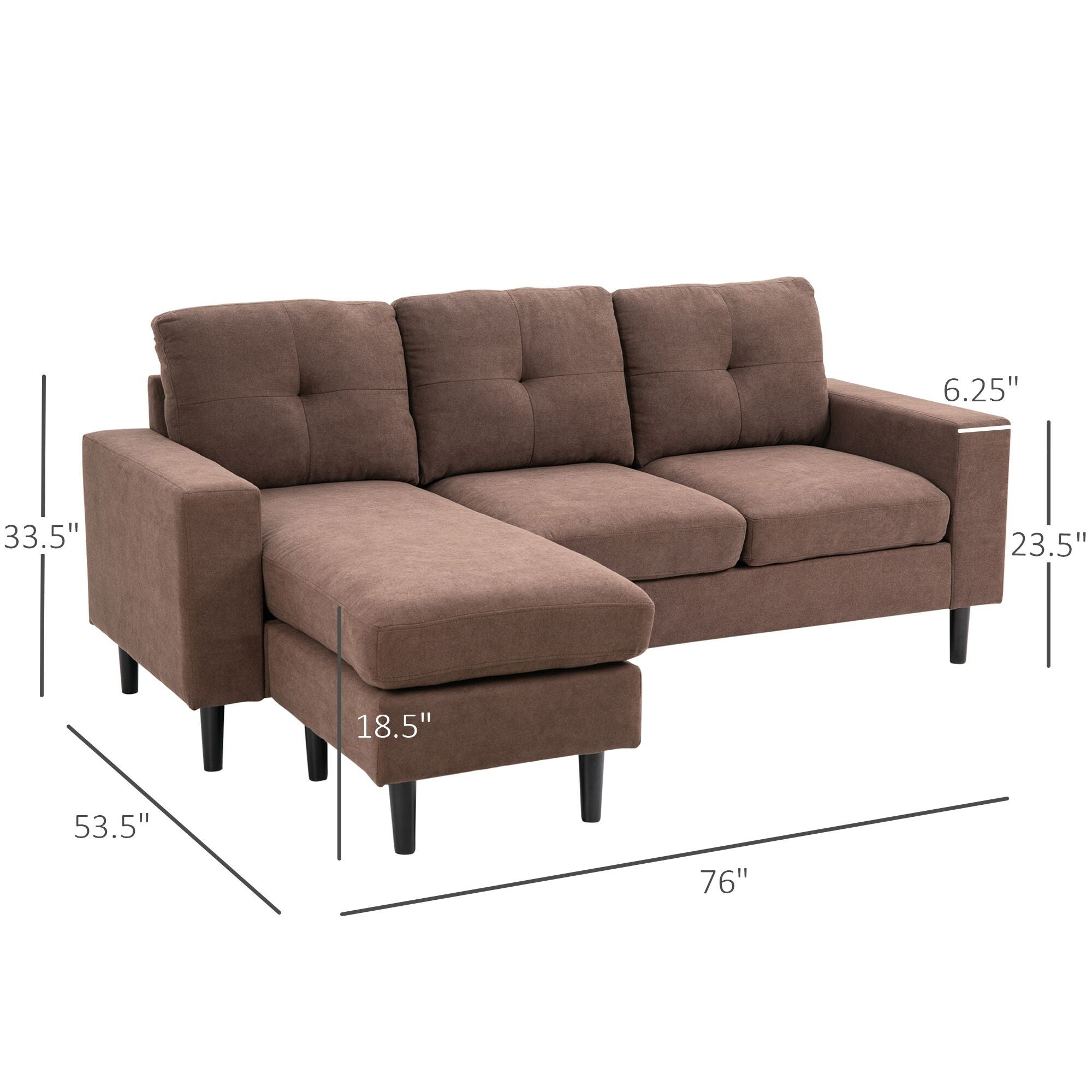 Shop Homcom 3 Piece L Shape Chaise Lounger Modern Couch Set With Thick Sponge Cushions Modern Mid Century Style On Sale Overstock 32200173 Brown