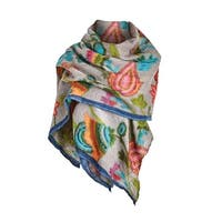 Catalog Classics Women's Hand-Painted Wool Scarf - Floral Lightweight Wrap - One size