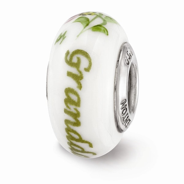 Sterling Silver Reflections Hand Painted Granddaughter Glass Bead