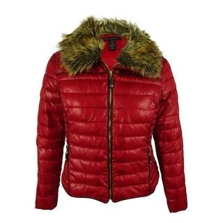 INC International Concepts Women's Faux Fur Puffer Jacket - glamorous red