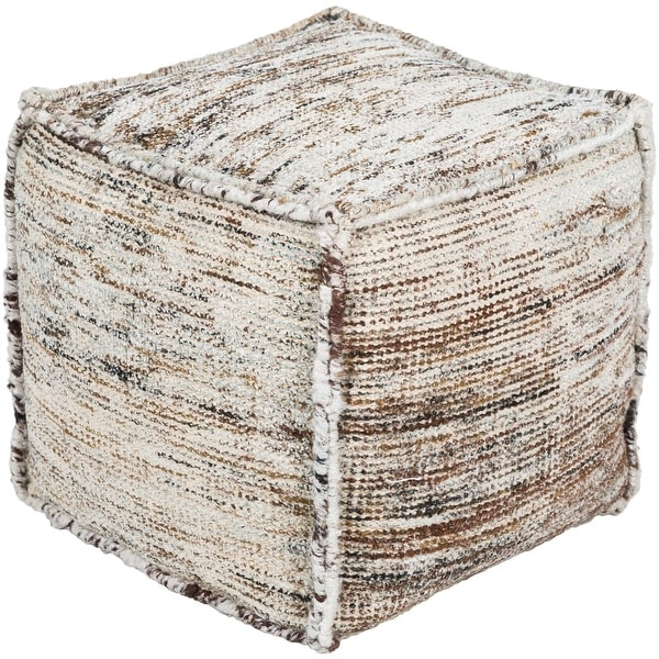 """18"""" Brown and Gray Woven Cube Pouf Ottoman with Cover - N/A"""