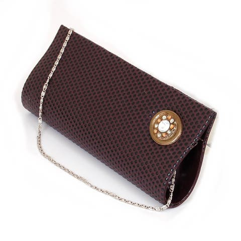 Womens Evening Bag Clutch Handbag Beaded Rhinestone Purse Wallet Formal Party NW - Brown - One Size
