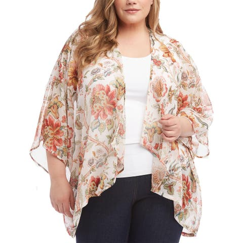 Karen Kane Womens Plus Kimono Floral Print Drapey