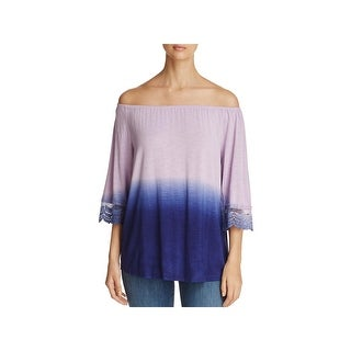 Design History Womens Casual Top Dip-Dye Lace Trim