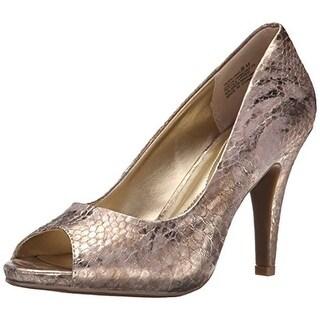 Andrew Geller Womens Tagalong Metallic Peep Toe Platform Heels - 6.5 medium (b,m)