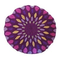 Vivai Home Purple Spirograph Pattern Wool Cotton Feather 16 Round Pillow